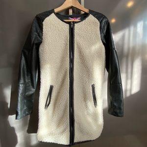 Long fleece faux fur coat with black faux leather